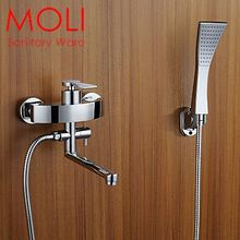 Wall mount tub faucet bathtub mixer controlled faucet with hand shower bath mixer with swivel spout bathtub faucet