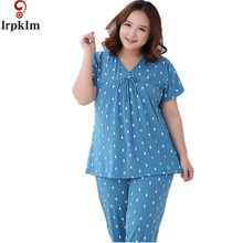 Women Short Sleeve Pajamas Set Cotton 2017 New High Grade Print Pyjamas Set Women Sleepwear Homewear Big Size L-6XL SY517