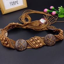 Goowail 2017 vintage Bohemian style Braided belts for women knitted Hollow ladies belt wide decoration fashion female dress(China)