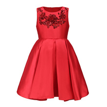 2017 summer new children fashion clothing girls western style applique dresses girl red sleeveless Princess dress for age 2-11T