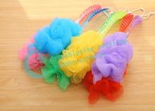 Colorful Long Handle Super Soft Body Wash Brush Shower Bath Ball Hanging Bath Brush 2016 New