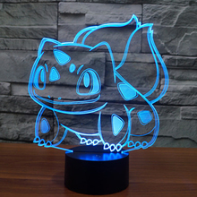 Children's Day Gift 3D Cartoon USB Lamp Pokeball Bulbasaur Pokemon Go Game Animal Frog Seeds LED Night Light Table Baby Kid Toy