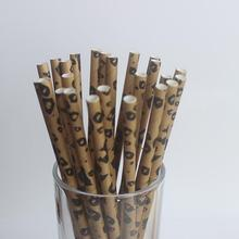 25pcs Leopard Print Jungle Zoo Straws Women Girls Birthday Party Wedding Decorations Grand Event Supplies Drinks Paper Straws