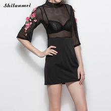 Buy Shilanmei Women Embroidery Flower Casual Dress Summer Back Zipper Mesh Maxi Dress Black Dresses Mini Sexy Dress Clothing Vestido for $15.24 in AliExpress store
