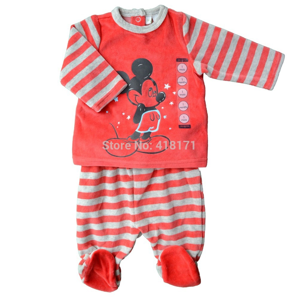 2017 Spring-Autumn Baby Set Velvet Mouse Cartoon Print T Shirt+Footie Long Sleeve Outfit Infant Boys Girls Velour Clothing Sets<br><br>Aliexpress