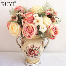 Artificial peony flower bouquet spring silk / fake flower living room decoration wedding rose Simulation plants