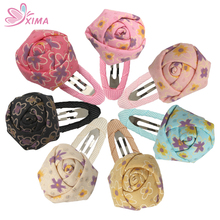 XIMA 7PCS Rolled Fabric Rosettes with BB Clip Kids Hair Accessories Rose Flower Hairpins Headwear for Girls(China)