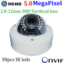 High Defintion 5.0 Megapixel IP Camera varifocal lens 4x manual zoom 5mp 3mp 2mp adjust hd IR Night vision ip cctv camera POE