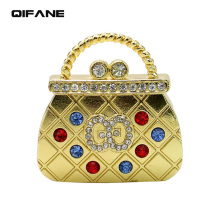 QIFANE 64G crystal Handbag U Disk Creative gift pen drive 4G 8G 16G USB Metal Flash Drive Jewellery diamond memory stick(China)