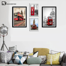 NICOLESHENTING Red London Bus Big Ben Art Canvas Poster Painting Cityscape Wall Picture Print Modern Home Office Room Decoration