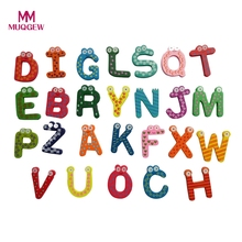 2017 Hot Sale Kids Toys 26pcs/set Wooden Letters Cartoon Alphabet ABC~XYZ Fridge Magnets Child Educational Wooden Block Toy Gift(China)