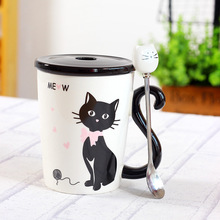 New Lovely Cat Tail Handle Mugs Cup Ceramic Coffee Tea Milk Drinkware With Spoon Cover Three in One Mug Gift(China)