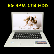 Cheap 14 Laptop Computer Notebook Celeron J1900 Quad Core 8G RAM 1TB HDD Windows 7/8 WIFI Webcam Portable Laptops PC 3 Color(China)