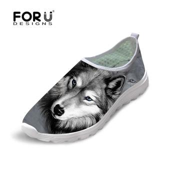 FORUDESIGNS Casual Primavera Verano Malla Zapatos de Los Hombres Lobo 3D Animal zapatos Frescos Del Animal Doméstico del Perro Husky Pug Impreso Beach Zapatos de Agua Slip-on