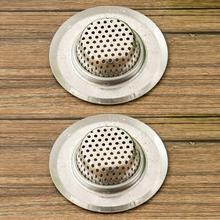 NEW 2Pcs Stainless Steel Sink Filter Bathtub Drain Plug Anti-blocking Strainer Every Other Residue Bathroom Tools