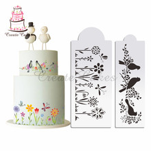 Flower and Birds Stencil Cake Decorating Stencil Plastic Mold Design Cake Template Mold Cookies Mould Fondant Tools Bakeware(China)