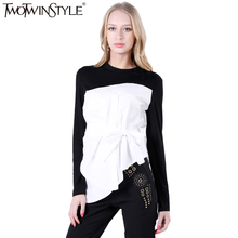 Buy TWOTWINSTYLE Lace Top Female Blouse Long Sleeve Women's Shirt Wrap Tunic Casual Tops Clothes Korean Fashion 2017 Autumn for $18.70 in AliExpress store