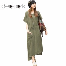 4XL 5XL Plus Size Maxi Dresses Women Retro Casual Loose Long Dress Cotton Linen Solid Short Sleeve Ankle Length Dress Oversized(China)