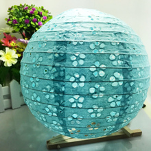New Chinese 8-10-12 Inch Blue Color style Hollow Paper Lanterns wedding lanterns paper lampshade holiday party supplies(China)