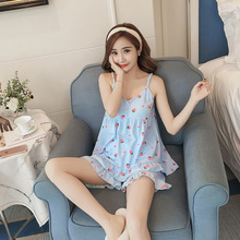 5dc55c65e56f HaoMengFen 2018 Korean version of the summer short sexy women s sling  pajamas strawberry cute princess set