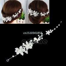 Clear Crystal Rhinestone Faux Pearl Flower Party Bridal Headband Hair Band Tiara Hair Jewelry #Y51#