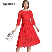 2017 Autumn Women Lace Dresses Girl Fashion Slim Sweet Chic Half Sleeve Crochet Floral Cutout Lace Midi Swing Flare Casual Dress(China)