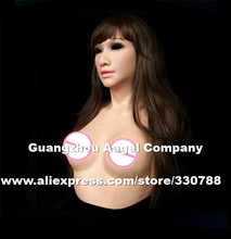 [ SF-A3] Top quality female silicone masks halloween, crossdress silicone breast forms, full face masquerade masks for men