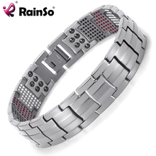 Rainso Men Jewelry Healing magnetic Bangle Balance Health Bracelet Silver Titanium Bracelets Special Design for Male(China)