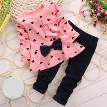 Popular Spring Autumn Baby Girls Sweet Princess Clothes Set Casual Children Bow Decor Love Heart Printed T-shirt Pants Suits