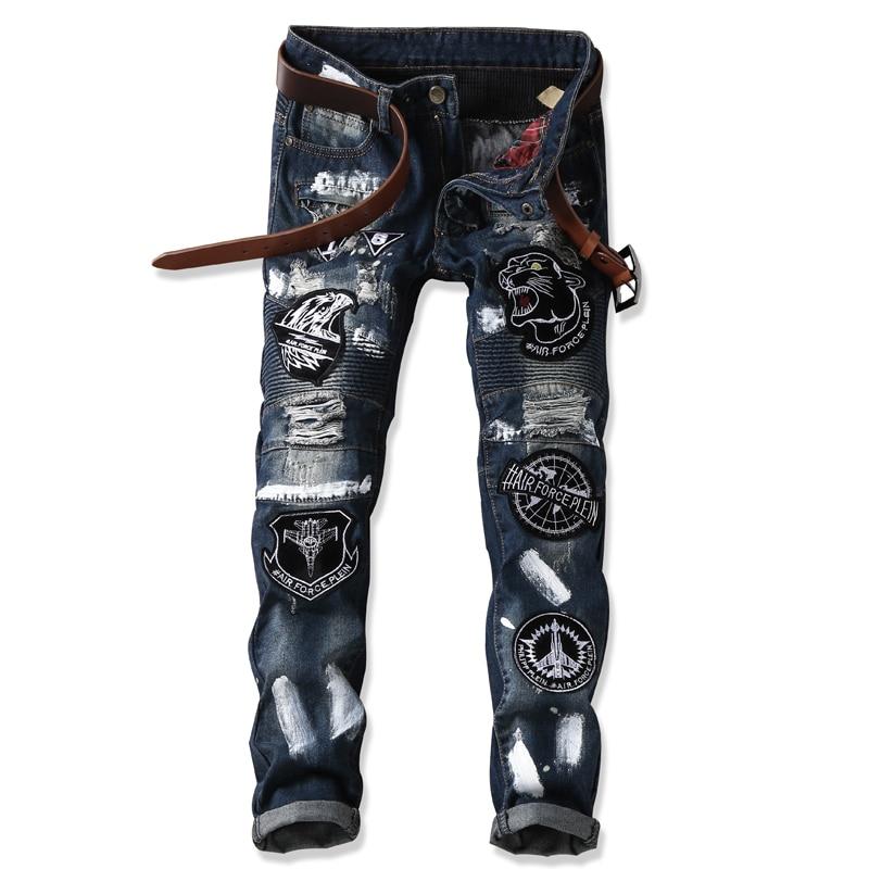 Men`s Embroidered tiger head Jeans Pant Pleated Biker jeans Gothic Hole Ripped Club night slim straight Cool Jeans For Young MenÎäåæäà è àêñåññóàðû<br><br>