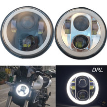 "5-3/4"" Halo Ring Angel Eye DRL LED Headlight Harley Dyna Super Glide Street Bob Sportster 1200 883 72 48 Led Moto Round Headlamp"