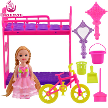 UCanaan Girl Toys Mini Furniture Accessories for Barbie Doll Toys Baby Pretend Play House Classic Toys for Kids(China)