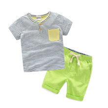 2-8 Age Children's Outfits Summer Baby Striped T-shirt And Short Pants Kids Boys Clothing Set Toddler Short Sleeve Twinset 2017