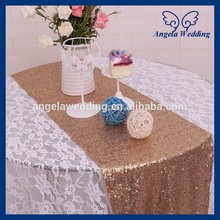 RU009K1 Good quality many colors available heavy beaded antique gold sequin table runners(China)