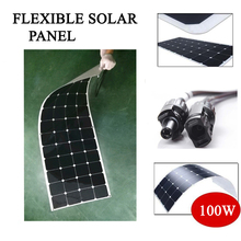 flexible solar panel battery charger 100W customized connection box and size charge 12V battery solar cell import from USA(China)