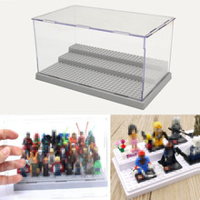 New 3 Steps Display Case/Box Dustproof ShowCase Gray Base For LEGO Blocks Acrylic Plastic Display Box Case 25.5X15.5X13.8cm(China)