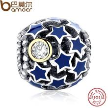 New Collection 925 Sterling Silver Deep Night Sky Blue Star Charm Fit Bracelet Clear CZ  Gold Color Jewelry Making PAS175