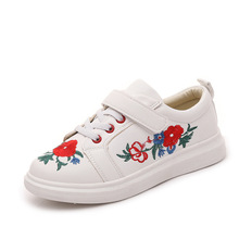 Children Brand Design White Black Embroidery Flower Boys Sneaker Kids Platform Low Top Girls Causal Sports Shoes Kid PU
