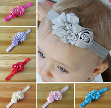 flower headband 12 colors Kids pearl lace hairband Newborn Kids girls Felt Flower headbands A031(China)