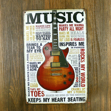 "Old Garage Poster ""Music guitar"" Painting Bars House Cafe Tin sign Poster Vintage Metal Wall Decor 20x30 Cm plaques(China)"
