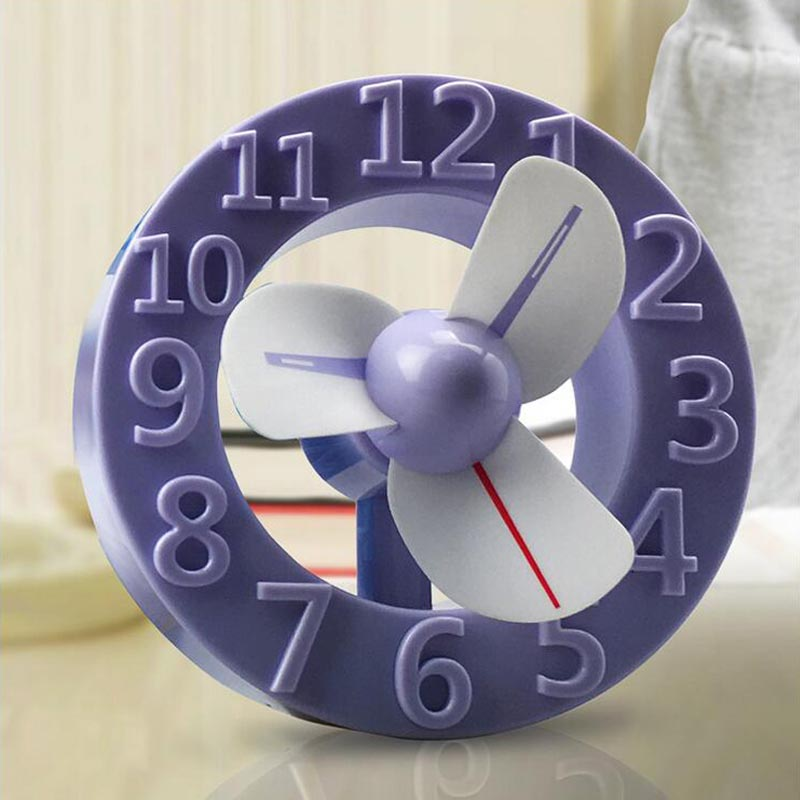 2017 Fashion Clock Fans Convenient Mini USB Rechargeable Charging  Fan Air Conditioning For Home School Office<br><br>Aliexpress