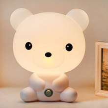 EU Plug Baby Bedroom Lamps Night Light Cartoon Pets Rabbit Panda PVC Plastic Sleep Led Kid Lamp Bulb Nightlight for Children(China)