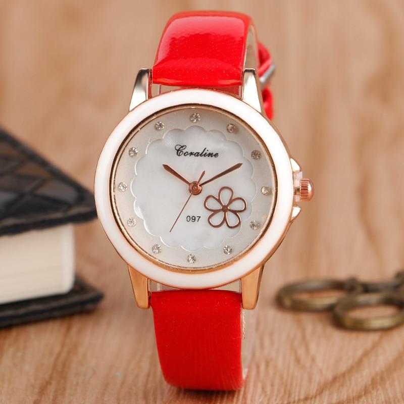 Casual Fashion Style Red Leather Womens Watches Top Brand Luxury Lady Clock Women Bracelet Quartz Dress Ladies Wrist Watch<br><br>Aliexpress