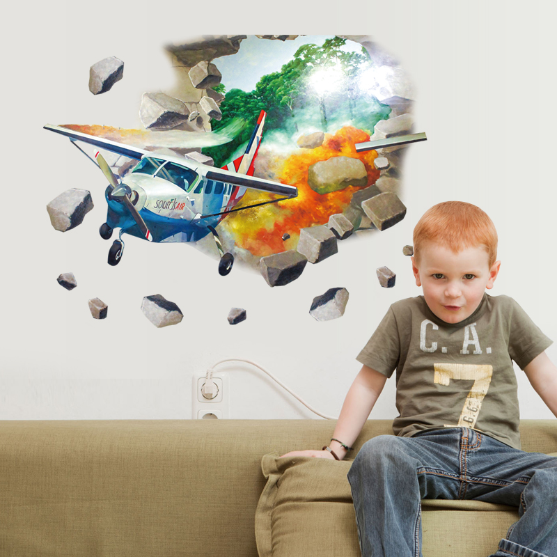 kids room 3d airplane wall sticker removable cartoon nursery wall decal baby bedroom wall poster