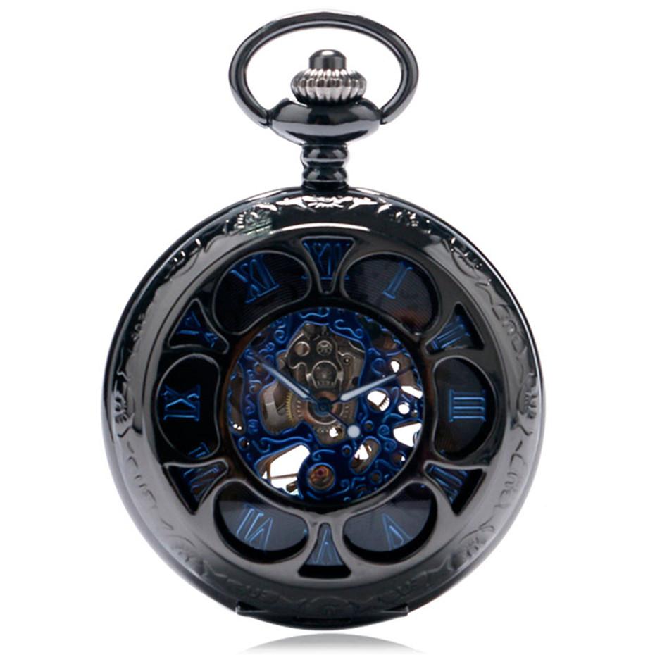 YISUYA Luxury Steampunk Hollow Skeleton Mechanical Pocket Watch Roman Numerals Dial Vintage Fob Chain Pendant Clock Men Women Gifts (3)