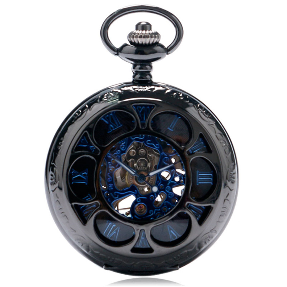 YISUYA Luxury Steampunk Hollow Skeleton Mechanical Pocket Watch Roman Numerals Dial Vintage Fob Chain Pendant Clock Men Women Gifts (3)
