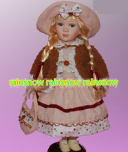 40cm porcelain red dress girl doll European rural Field Village ceramic doll style home decoration(China)