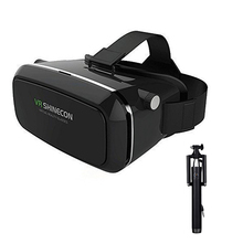 Virtual Reality Smartphone Immersive 3D Glasses Headset Google Cardboard Head Mount Video for iPhone Android phone+ selfie stick(China)