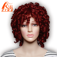 "Alizing Hair 12"" Wig Cosplay Curly Synthetic Wigs For Women Black Women Long Gold Black 3 Color Wigs With Bangs"