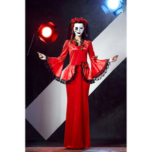 Hot Sexy Halloween Vampire Cosplay Costumes Sets Red Dress Ghost Bride Costume For Adult Women Scary Party Wear A413081(China)